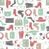 Vector pattern of fashion objects and trendy accessories. Vector seamless of fashion objects and trendy accessories Stock Photography