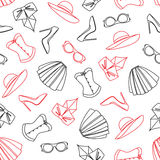 Vector pattern of fashion objets and trendy accessories Royalty Free Stock Photography