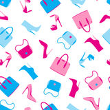 Vector pattern of fashion and trendy accessories. Vector seamless of fashion objects and trendy accessories Royalty Free Stock Image