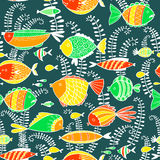 Vector pattern with fishes in cartoon style Royalty Free Stock Photos