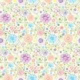 Vector pattern with flowers, butterfly, dragonfly. Stock Images