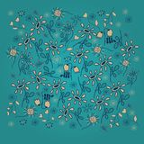Vector pattern with flowers decor on dark turquoise spotted background. Royalty Free Stock Images