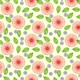 Vector pattern with flowers drawn in thin lines. Seamless vector pattern with random flowers in thin lines in red and vibrant green color. Texture for web, print Royalty Free Stock Photography