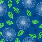 Vector pattern with flowers drawn in thin lines. Seamless vector pattern with stylized flowers in thin lines in deep indigo blue color. Texture for web, print Stock Image