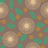Vector pattern with flowers drawn in thin lines. Seamless vector pattern with stylized flowers in thin lines in organic brown color. Texture for web, print Stock Photography