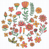 Vector pattern with flowers Garden Birhday Wedding Postcard Royalty Free Stock Photography