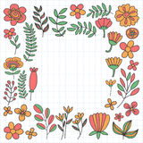 Vector pattern with flowers Garden Birhday Wedding Postcard Royalty Free Stock Photo