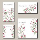 Floral spring templates with flowers. For romantic and easter spring design, announcements, greeting cards, posters stock illustration