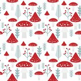 Vector pattern of fly agaric, fern and red berries on white back. Ground. Forest elements in flat style. Seamless pattern of simple shapes of mushrooms, berries Stock Image