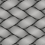 Vector pattern with geometric waves on horizon. Endless stylish texture. Ripple monochrome background. Pattern is on swatches panel Stock Image