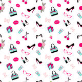 Vector pattern of glamor stickers and labeles. Vector seamless of glamor stickers and labeles Royalty Free Stock Photography