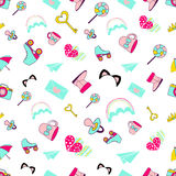 Vector pattern of glamor stickers and labeles. Vector seamless of glamor stickers and labeles Stock Photo