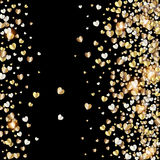Vector pattern with gold hearts on black Stock Image