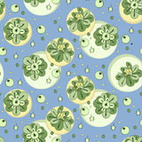 Vector pattern with green stylized flowers and berries. Seamless floral print, nature background Royalty Free Stock Photography