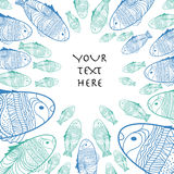 Vector pattern with hand draw blue and green fishes Stock Image