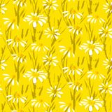 Vector pattern with hand drawn daisy flowers. Grunge floral vector pattern with hand drawn daisy flowers. Seamless texture for web, print, Easter home decor stock illustration