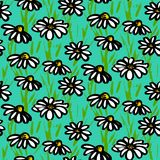 Vector pattern with hand drawn daisy flowers. Grunge floral vector pattern with hand drawn daisy flowers. Seamless texture for web, print, wallpaper, home decor Vector Illustration