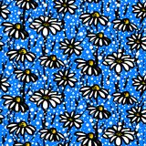 Vector pattern with hand drawn daisy flowers Royalty Free Stock Images