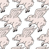 Vector pattern with hand drawn illustration of flying pig. Royalty Free Stock Photography