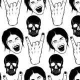 Vector pattern with  hand drawn illustration. Of screaming girl, skull and rock hand. Emotional realistic portrait. Template for card, poster, banner, print for Stock Image