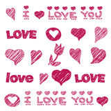 Vector pattern with hand drawn love design element Royalty Free Stock Photos