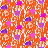 Vector pattern with hand drawn pink flowers. Stock Photos