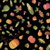 Vector pattern harvest. Vector pattern with the image of vegetables, fruits and leaves Royalty Free Stock Images