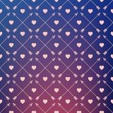 Vector pattern of hearts and arrows on gradient background. Stock Image
