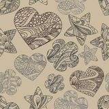 Vector pattern with hearts, flowers and stars Royalty Free Stock Photo