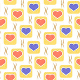 Vector pattern with hearts in squares stock illustration