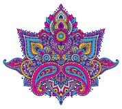 Vector pattern of henna floral elements. Based on traditional Asian ornaments. Paisley Mehndi Tattoo Doodle illustration in bright colors Stock Images