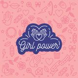 Vector pattern with icon and hand-lettering phrases related to girl power and feminist movement - abstract background. For prints, t-shirts, cards Royalty Free Stock Image