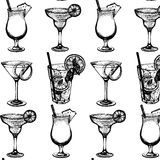 Vector pattern with  illustration of alcoholic cocktails. Stock Images