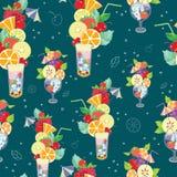 Vector Pattern. Illustration of fantastic summer cocktails on a dark blue background.  royalty free illustration