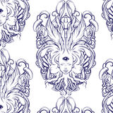 Vector pattern with illustration  of fortune teller. With three heads,  eyes, floral baroque frame. Floral surreal artwork made in hand drawn line style Royalty Free Stock Photography