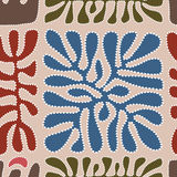 Vector pattern including ethnic Australian motive with multicolored typical elements Royalty Free Stock Image
