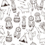 Vector pattern with indian elements. stock illustration