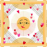 Sunrise in the sky. Squared silk scarf with sun face, hearts and kites. Royalty Free Stock Photography