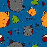 Vector pattern kids animal in hand draw style stock illustration