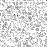 Vector pattern kids fabric, textile, nursery wallpaper. African pattern with tribal elements and animals for little. Children stock illustration