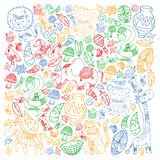 Vector pattern kids fabric, textile, nursery wallpaper. African pattern with tribal elements and animals for little. Children royalty free illustration