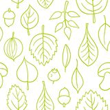 Vector pattern with leaves. Seamless autumn ornament. Fall season background. Nuts, acorns, leaves, berries, mushrooms Royalty Free Illustration