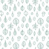 Vector pattern with leaves. Seamless autumn ornament. Fall season background. Nuts, acorns, leaves, berries, mushrooms Stock Illustration