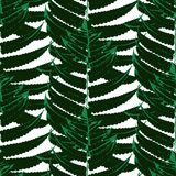 Vector pattern with leaves of tropical plants Royalty Free Stock Photo