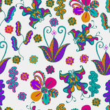 Vector  pattern. light background,  Butterflies,  flowers, leaves  many, multicolor  tribal  texture Abstract Background for Busin Stock Images