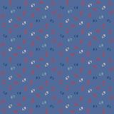 Vector pattern, little colorful flowers on blue Royalty Free Stock Photo
