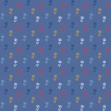 Vector pattern, little colorful flowers on blue Stock Photos