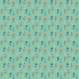Vector pattern, little colorful flowers on green. Vector seamless pattern with little colorful flowers on green field, vintage wallpaper or retro textile Stock Image