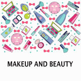 Vector pattern of Make-Up, beauty and healthy cosmetic product Royalty Free Stock Photo