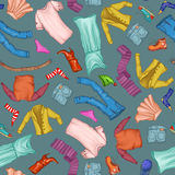 Vector pattern of male and female fashion collection of clothes. Hand-drawn objects sketch Royalty Free Stock Images